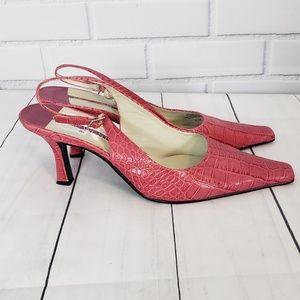 Nine West Pink Crocodile Sling back heels.